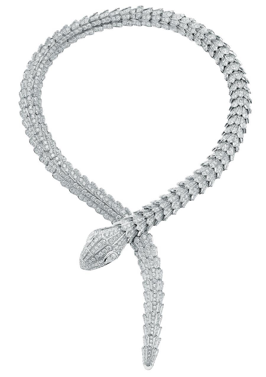 寶格麗Serpenti系列頂級鑽石項鍊,1331萬元。(BVLGARI提供)