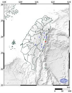 06:24花蓮近海4.8地震 最大震度4級