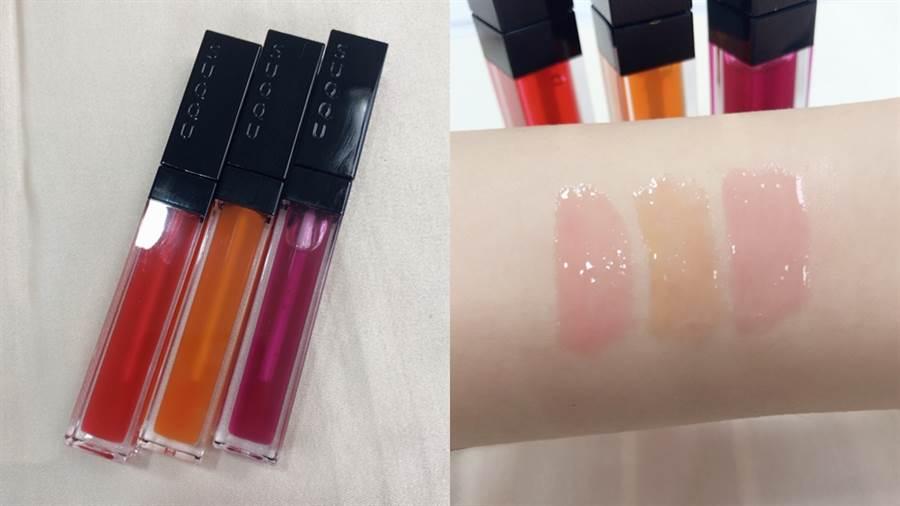 SUQQU 晶采水艷光唇釉,左至右:#101水漆、#102樹蜜、#103澄重,皆為限定品。(圖/邱映慈攝影)