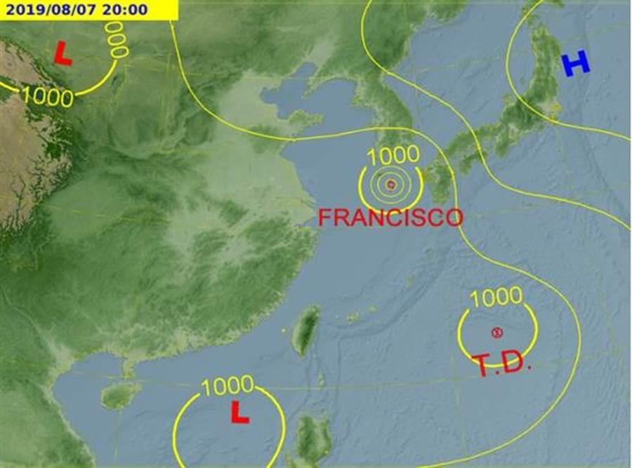分析預測圖顯示,若利奇馬成颱,影響台灣的機率也不大。(中央氣象局官網)