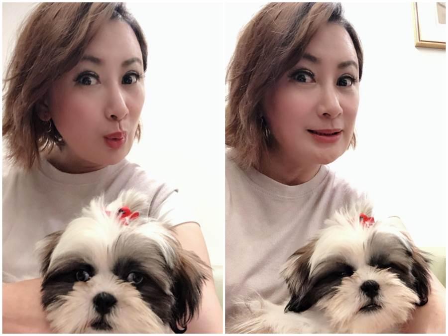 陳亞蘭和可愛的「毛毛」。寶麗來國際娛樂提供