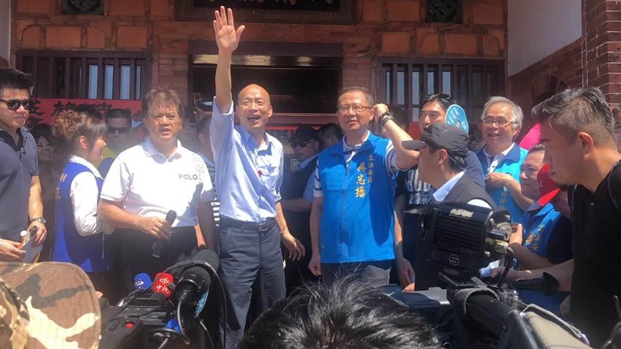 國民黨立委吳志揚中午陪同獲國民黨提名參選總統的高雄市長韓國瑜共餐。圖:吳志揚辦公室提供