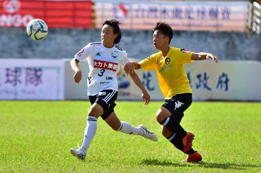 小將蘇育萱(左)1射1傳,幫助台中藍鯨6球大勝台北國際。(中華足協提供)
