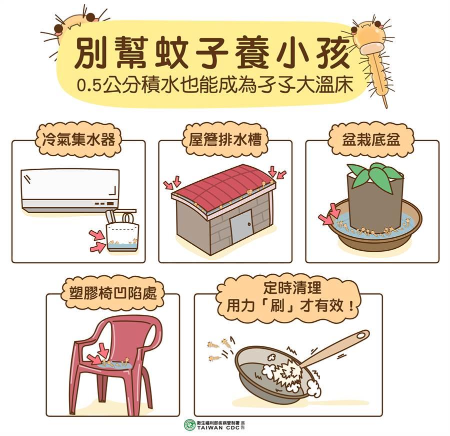 疾管署提醒,大雨過後別幫蚊子養小孩,清除積水容器杜絕孑孓溫床。(疾管署提供)