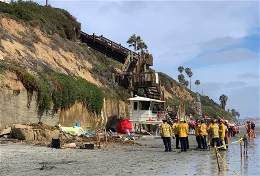 美國南加州聖地牙哥的一處海灘發生岩壁崩塌的致命事故。(美聯社)