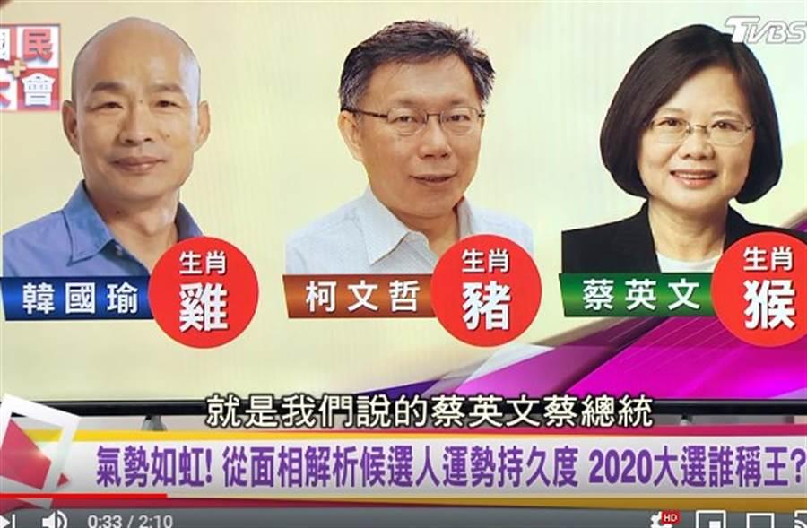 詹惟中上節目論韓、柯、蔡面相。(取自國民大會YouTube)