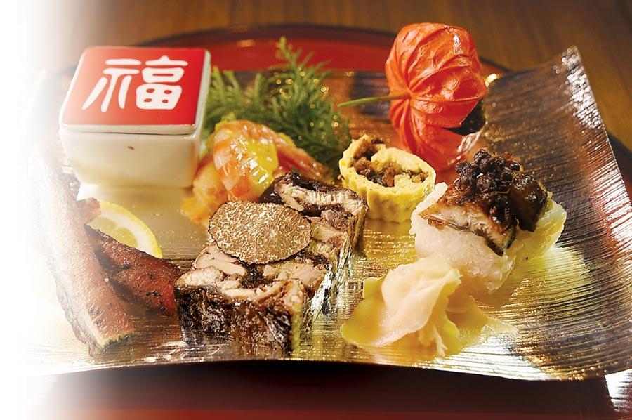 〈小倉屋〉限量供應的〈極上鰻懷石〉中的「八寸」,以鰻魚為食材主角並用不同技法作出七種不同開胃菜。圖/姚舜