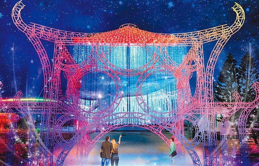 「2019澎湖國際海灣燈光節」打造15公尺長主燈「鯨動海灣」霓虹燈光秀。(陳可文翻攝)