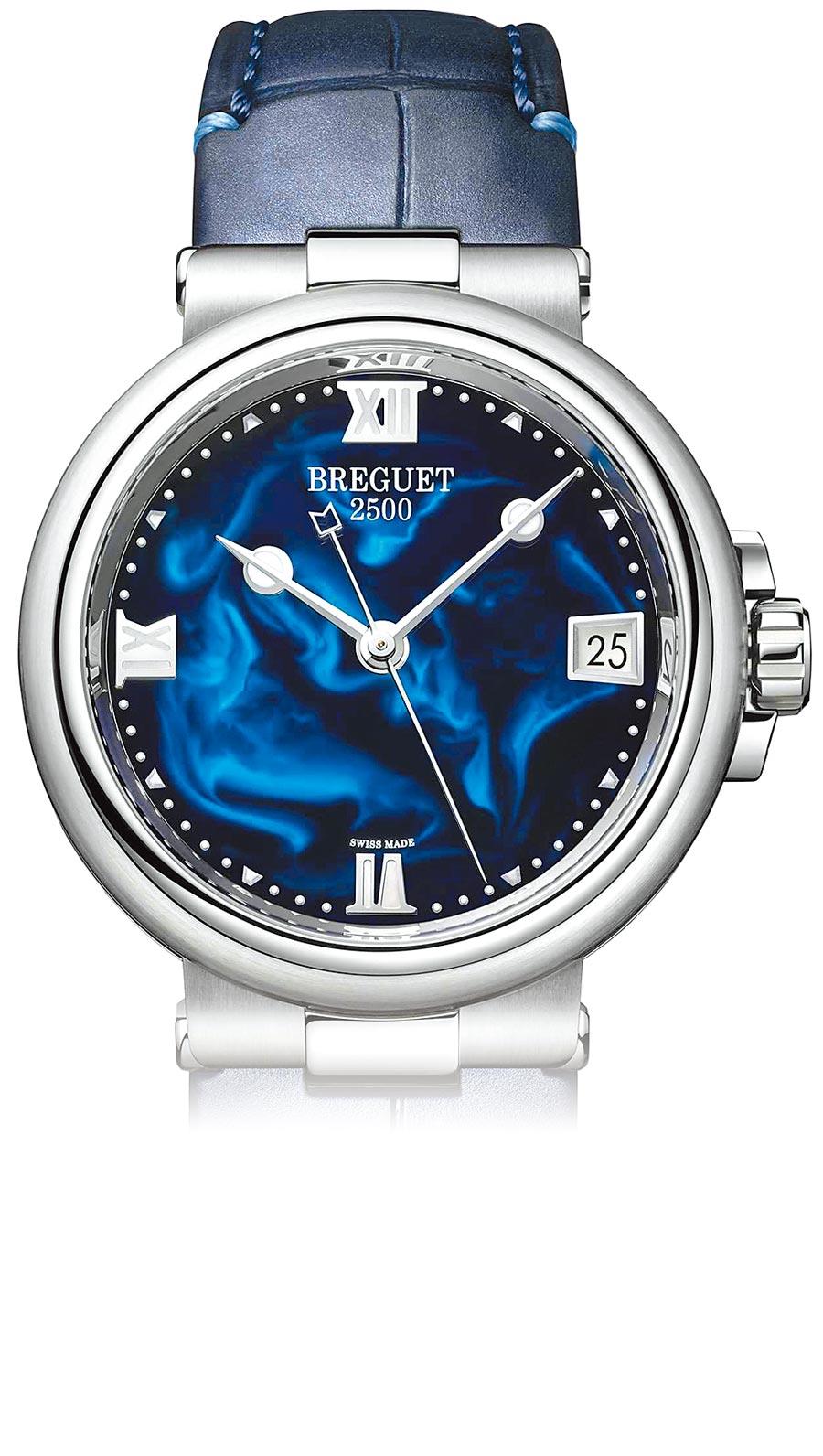 寶璣航海系列Marine Dame 9517女表,藍色亮漆面盤搭配藍色皮革表帶,56萬9000元。(Breguet提供)
