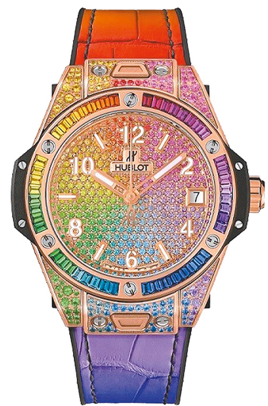 宇舶表超奢版Big Bang One Click彩虹寶石腕表,255萬1000元。(HUBLOT提供)