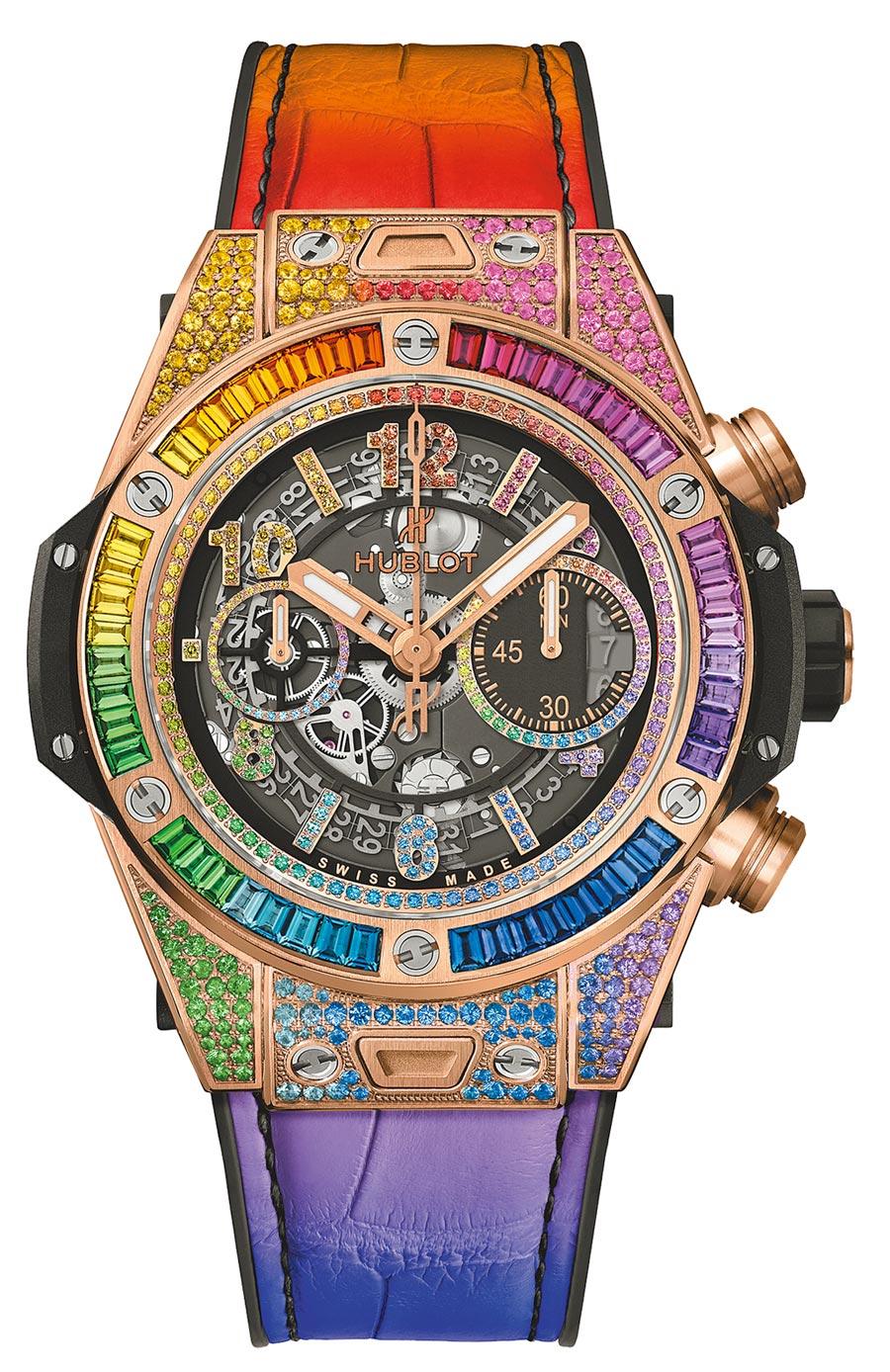 宇舶表超奢版Big Bang Unico彩虹寶石計時碼表,284萬5000元。(HUBLOT提供)