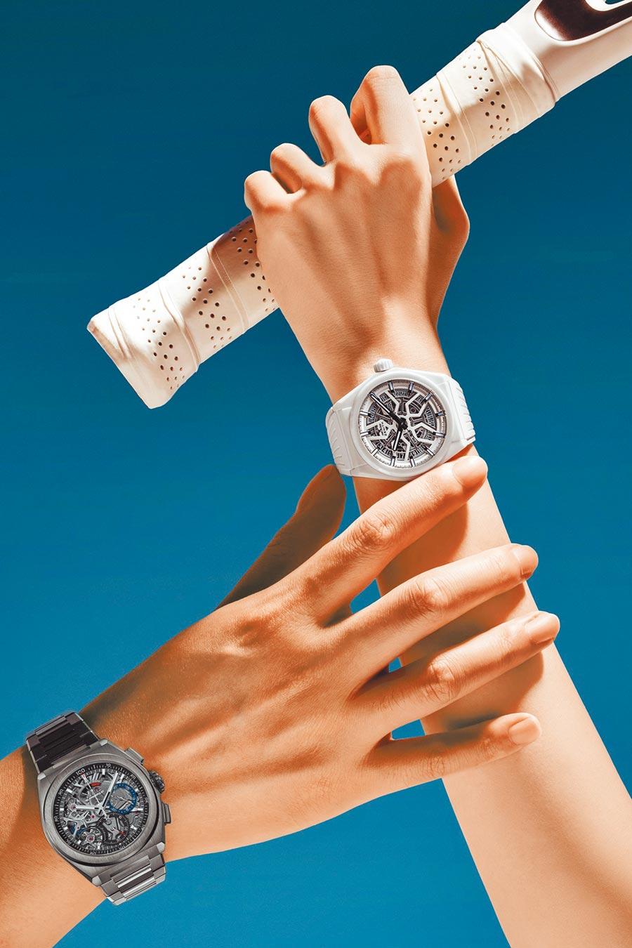 真力時在情人節推薦DEFY El Primero 21腕表(左),41萬6000元,以及充滿時尚品味的DEFY Classic白色陶瓷腕表,23萬5000元。(ZENITH提供)