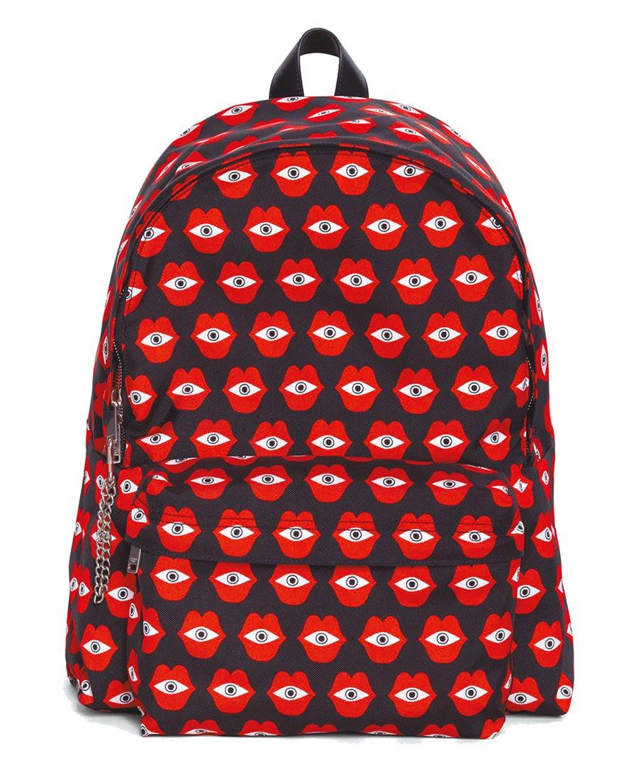 CELINE TELEPATHIC LOVE紅色印花後背包,3萬8500元。(CELINE提供)