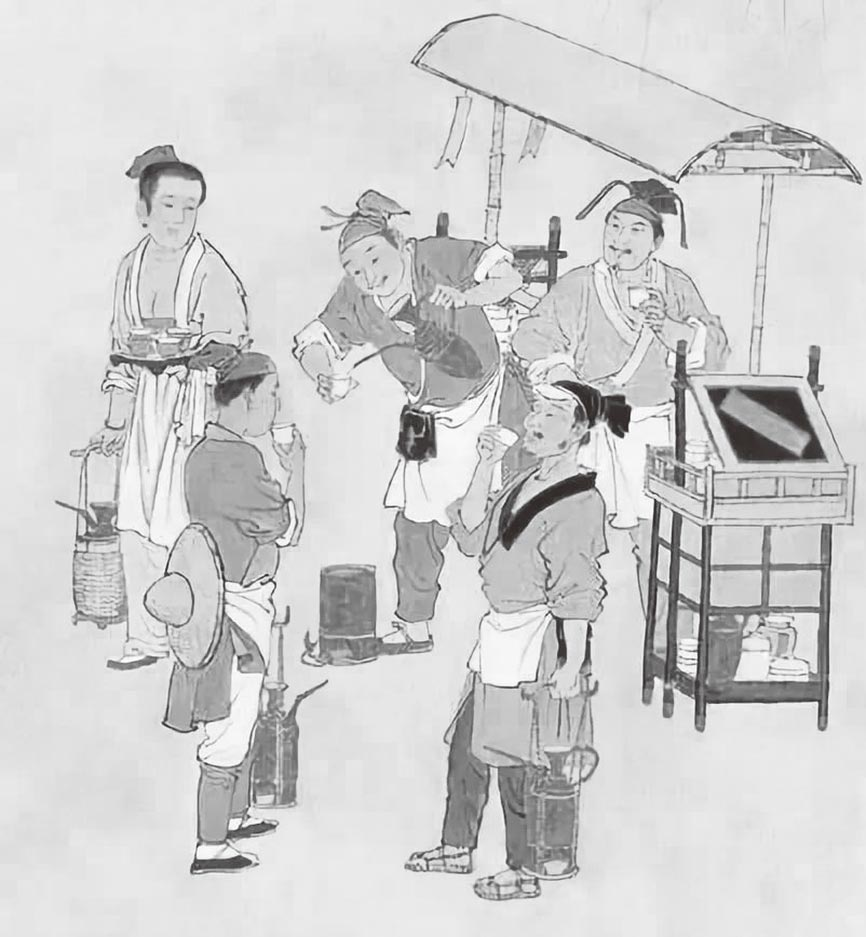 在宋代,茶水店以各種「飲子」為夏日解暑飲料出售很是普遍。(取自網路)
