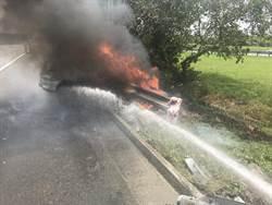 國3自小客自撞起火 女駕駛燒成焦屍