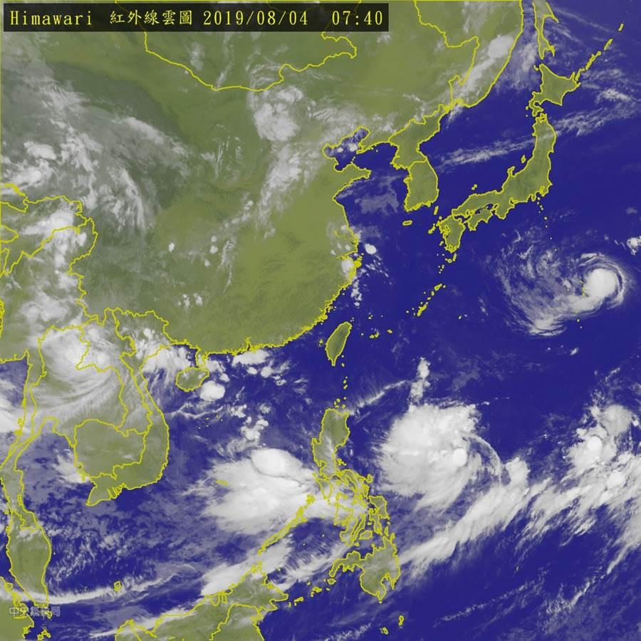 图为红外线云图,多个台风共舞中。(气象局)