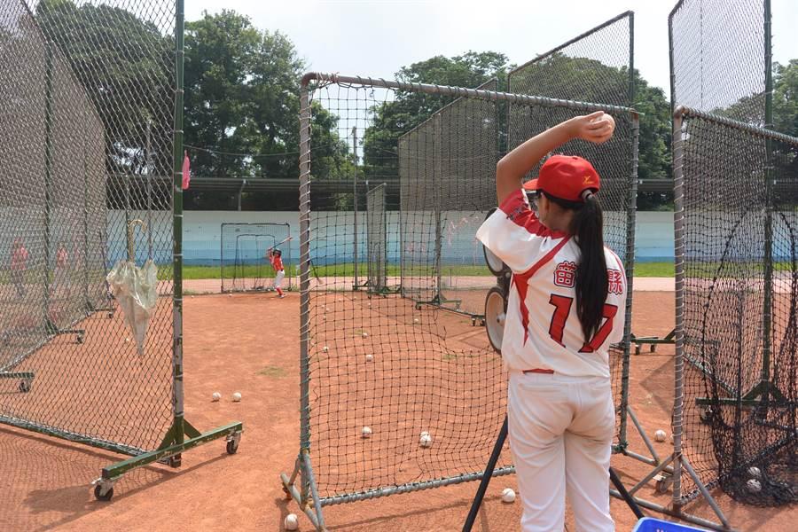 銅鑼國小棒球隊加強打擊技術,克服身材限制。(巫靜婷攝)