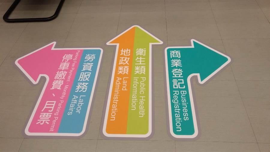 台中市府服務中心地板設置標線且呈現中英雙語,快速引導民眾到各櫃台洽詢業務。(盧金足攝)