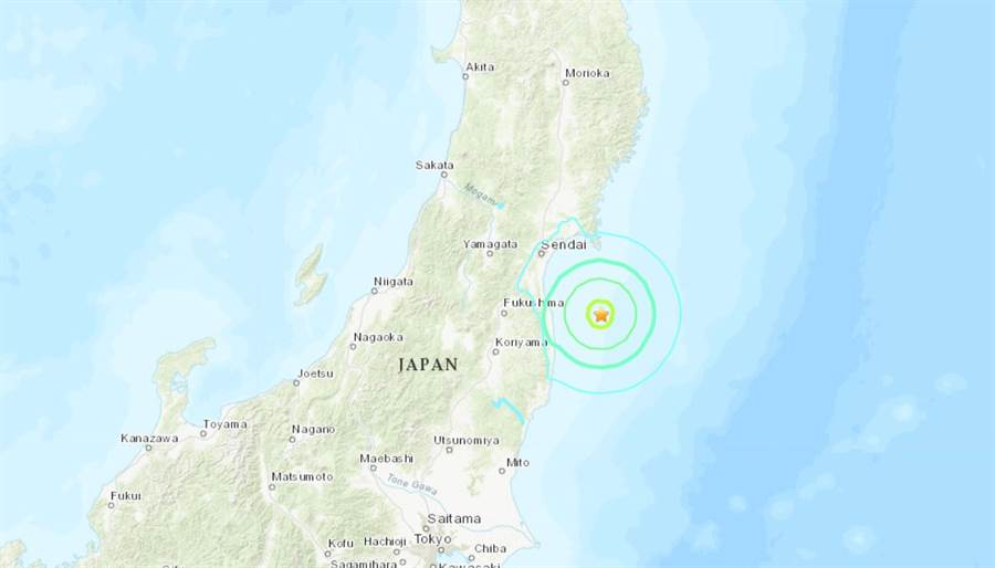美國地調所資料,日本福島縣外海發生規模6.3強震。(圖/USGS)