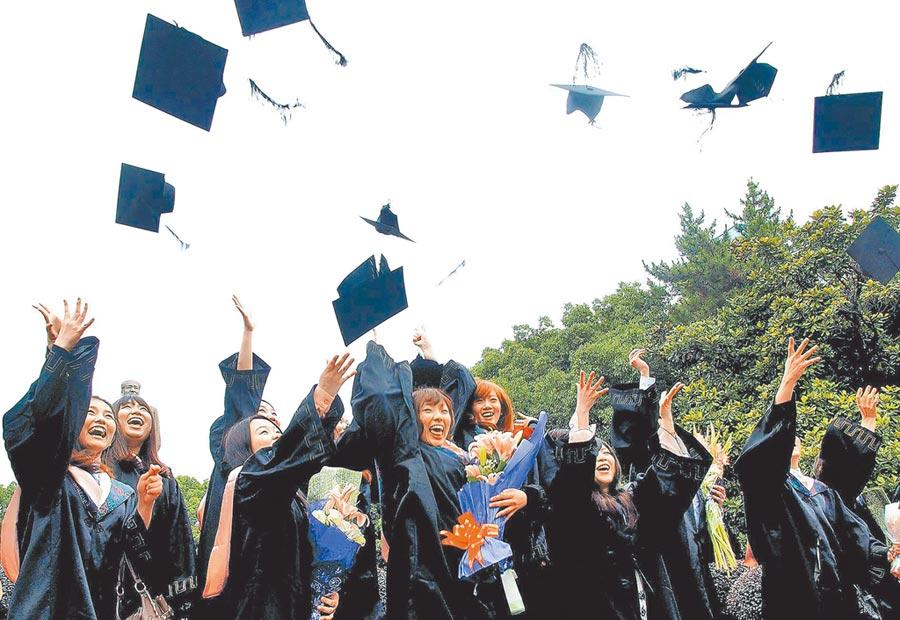 台生家長憂心未來學歷採認會遭限縮。圖為復旦大學畢業生開心拋擲學士帽。(新華社資料照片)