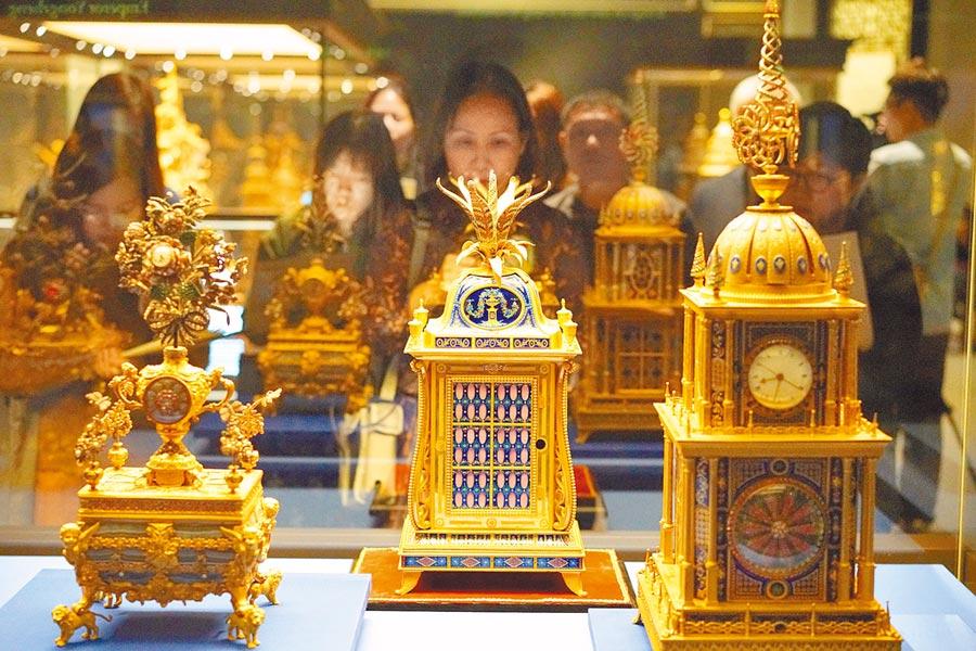 北京故宮博物院珍藏的鐘錶珍寶。(中新社)