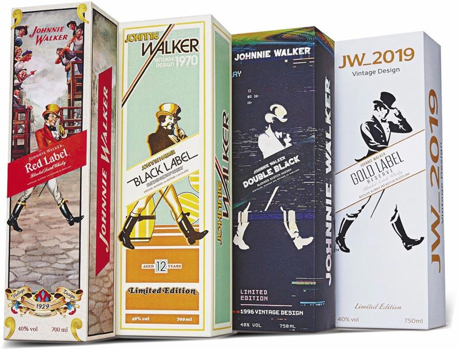 JOHNNIE WALKER經典標誌「邁向前的紳士」111週年紀念酒款。圖片提供帝亞吉歐