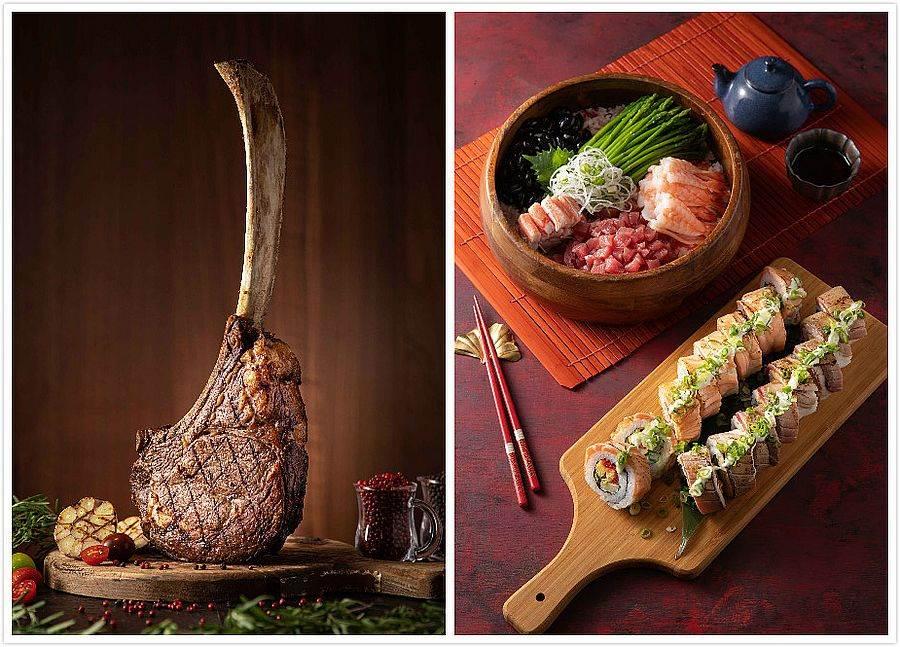 澳洲戰斧牛排(左)、新鮮鮪魚肚散壽司、鮭魚及鮪魚花壽司(右)。(圖取Mega 50官網)