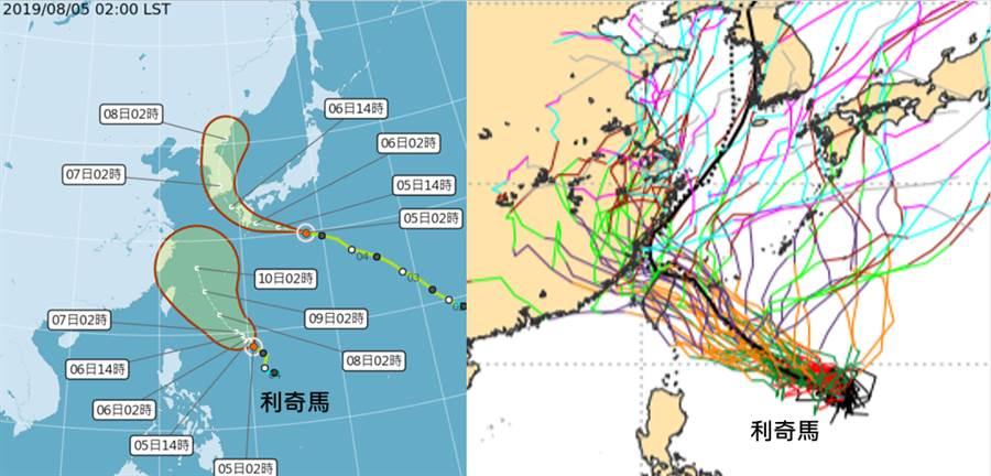 氣象專家吳德榮表示,利奇馬襲台機率提高,右圖為歐洲模式模擬的路徑,多條路徑都十分靠近台灣。(圖取自「三立準氣象·老大洩天機」)