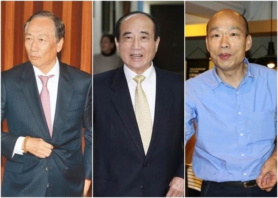 韓國瑜(右)積極希望郭台銘(左)與王金平(右)能一同團結合作(圖為資料圖)