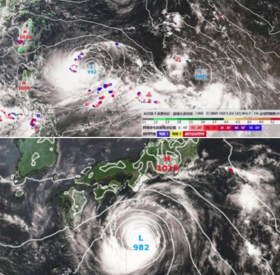 上圖為利奇馬,正在發展中,環流和雲系不對秤。下圖為范斯高,環流較完整。(翻攝自 彭啟明臉書)