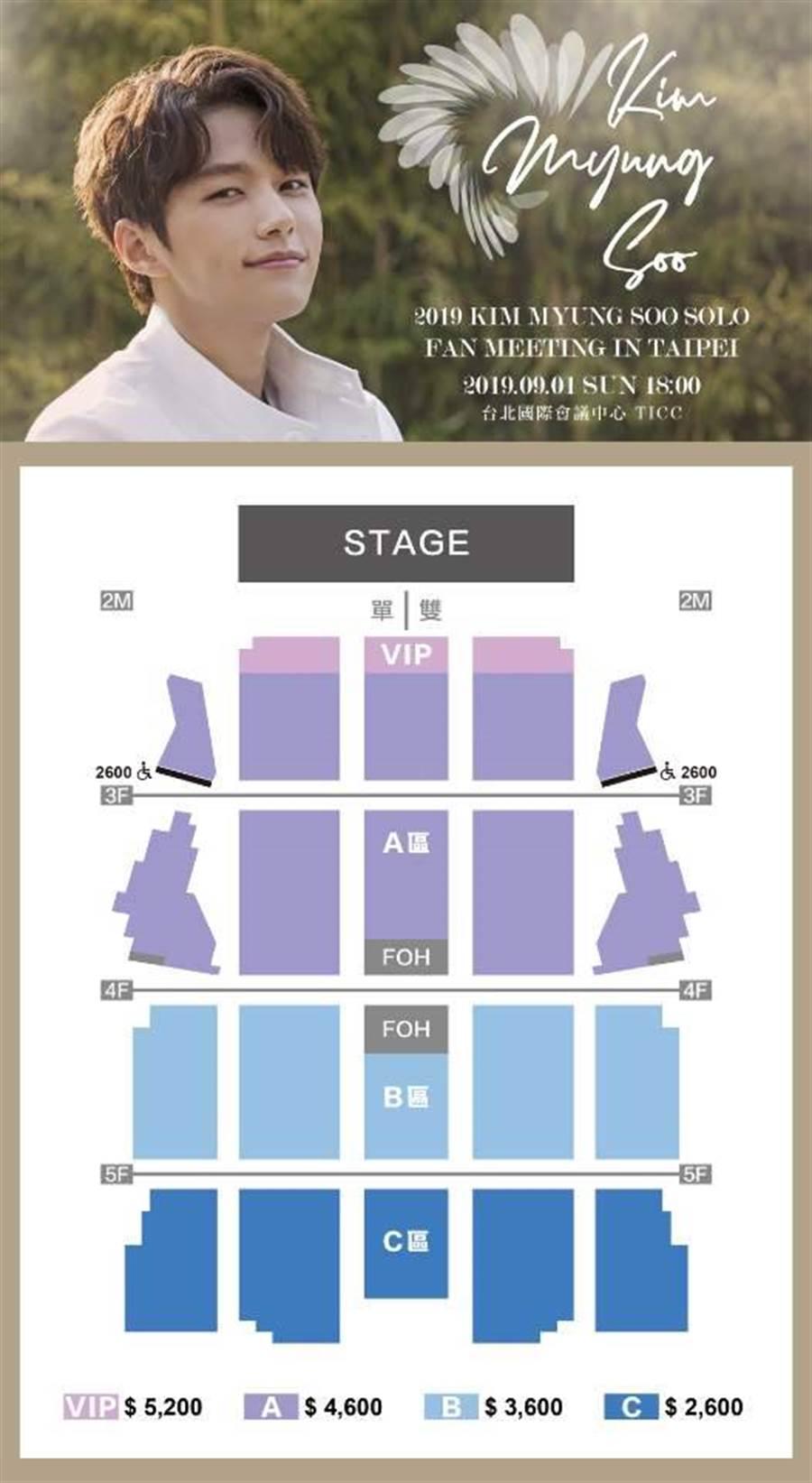 金明洙見面會座位圖與票價。(圖/紅星娛樂提供)