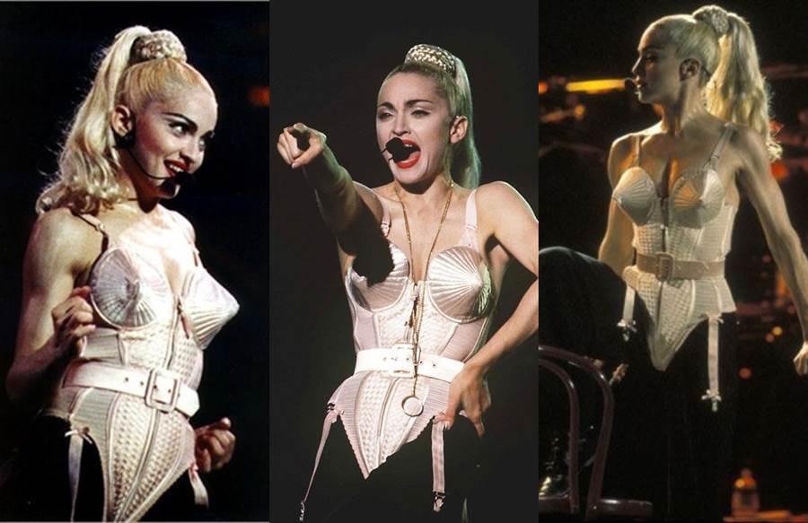 說到「內衣外穿」的始祖,絕對會想到美國天后瑪丹娜。(圖/Pinterest)