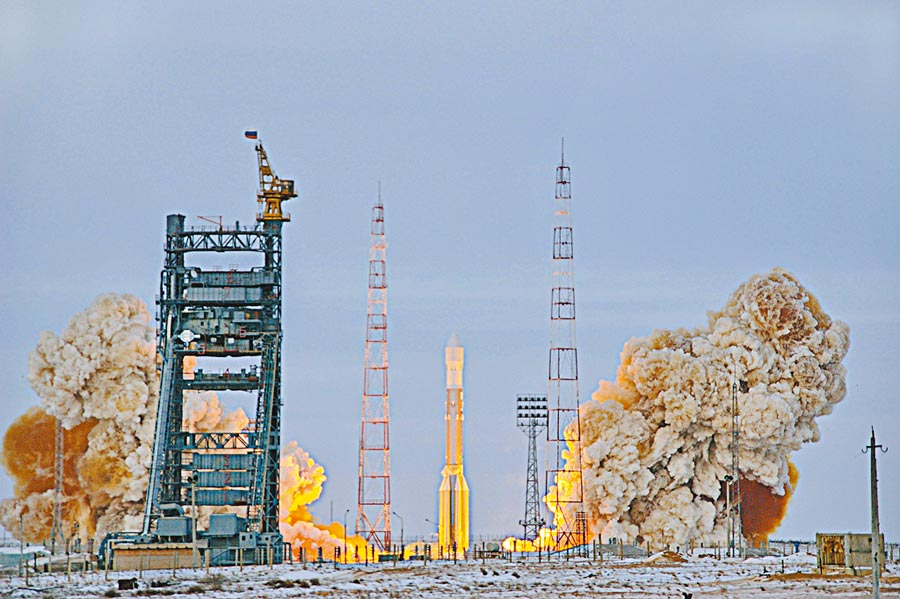 2008年俄羅斯發射格洛納斯系統衛星。(CFP)