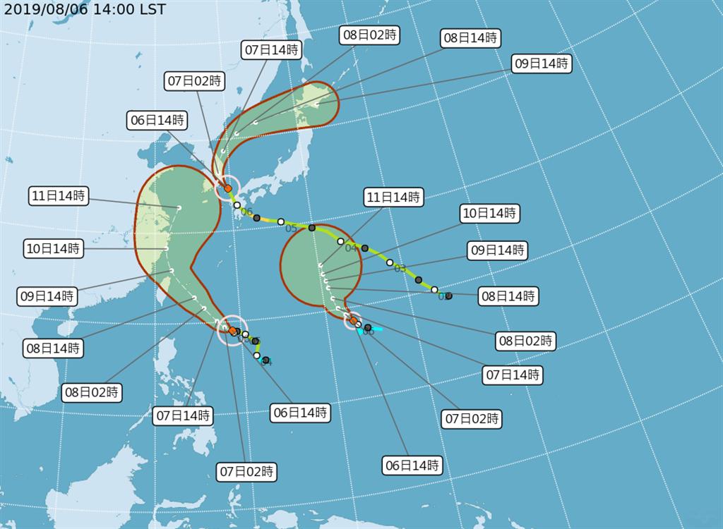 颱風路徑圖。(氣象局)
