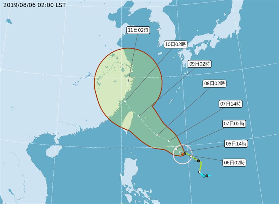 圖為颱風路徑。(翻攝自 氣象局)