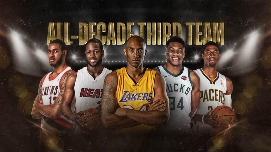 NBA過去十年最佳陣容第三隊有韋德、布萊恩、保羅喬治、阿提托康波與艾卓吉。(摘自NBA官網)