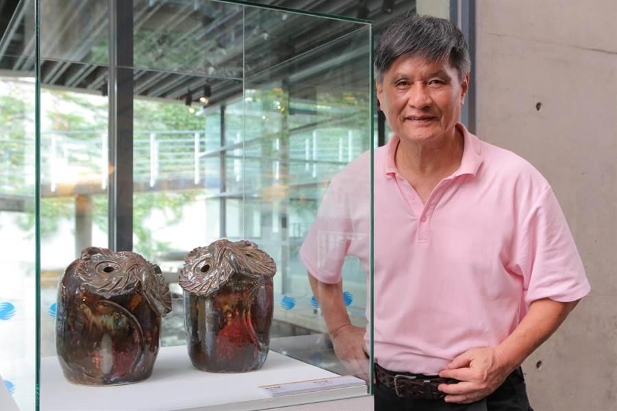 新北市鶯歌陶瓷博物館即日起展出「貓頭鷹與瓷版畫—陳萬富創作個展」。(陶博館提供)