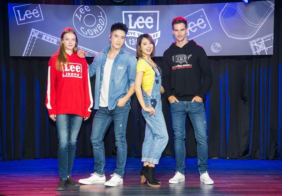 Model身著百貨周慶主打商品,與JR和阿喜展出Lee的牛仔傳奇