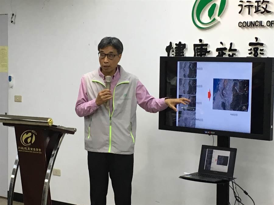 農委會副主委陳駿季表示,農試所約2008年起即開發利用衛星影像搭配現地調查人員,判釋作物生產的技術。(游昇俯攝)