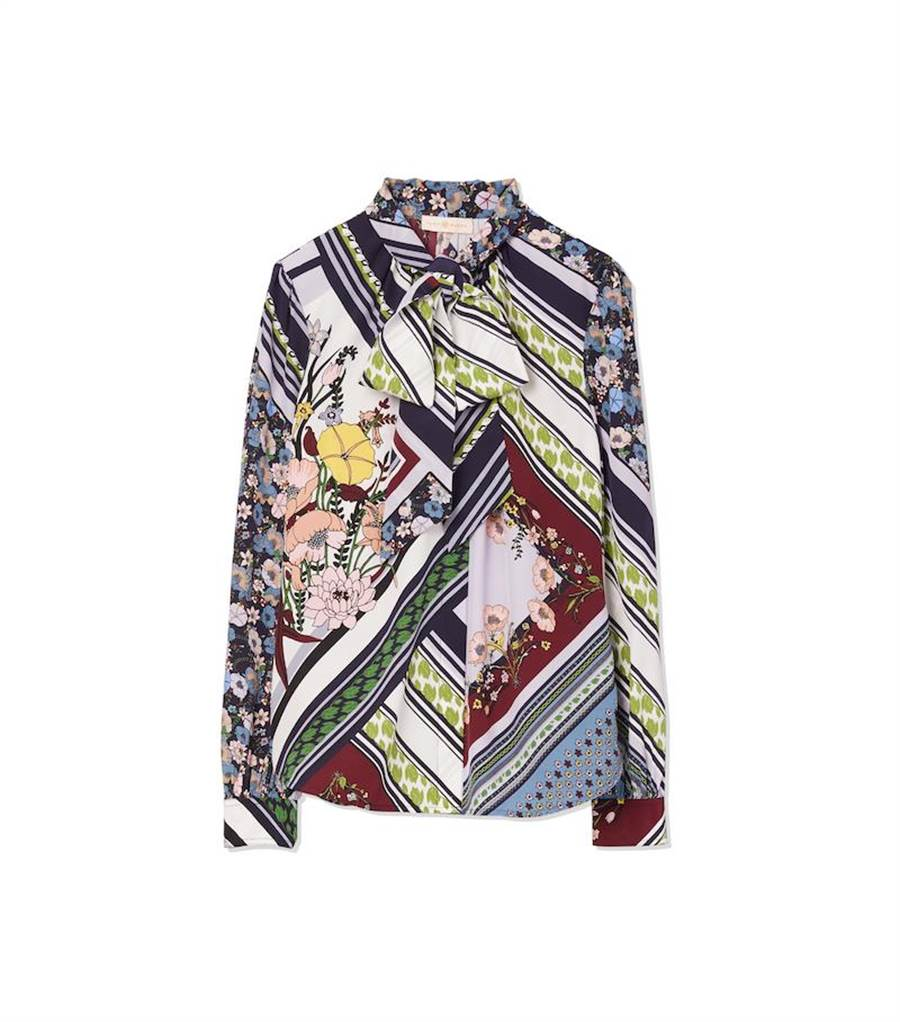 Tory Burch Printed Bow印花襯衫,1萬7900元。(Tory Burch提供)