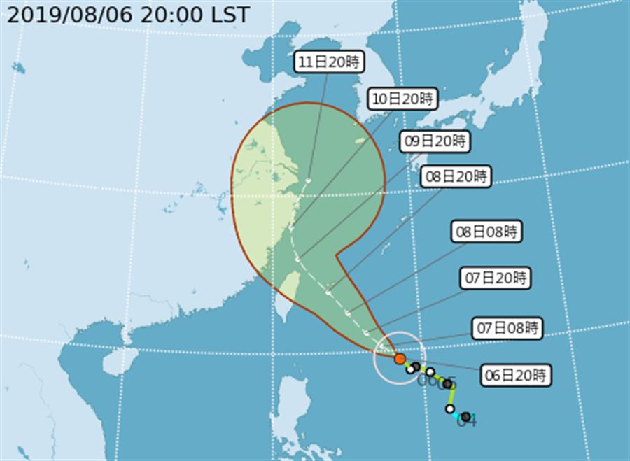 輕度颱風利奇馬最快將在7日凌晨增強為中度颱風 (圖/中央氣象局)