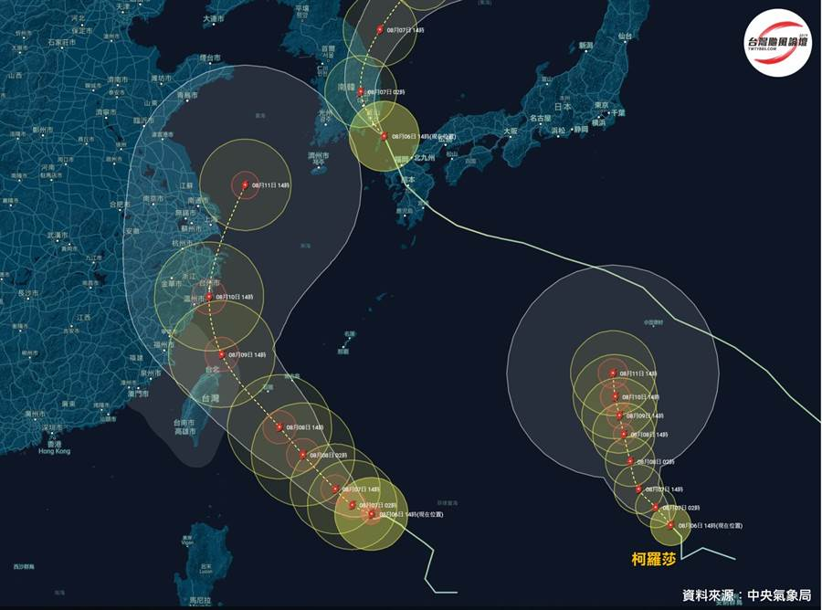 《台灣颱風論壇》貼出海面上三颱的路徑,8號范斯高已經登陸南韓並急遽減弱;10號科羅莎雖然會不斷增強,但會往日本方向走;9號利奇馬則是唯一會影響台灣本島的颱風 (圖/台灣颱風論壇)