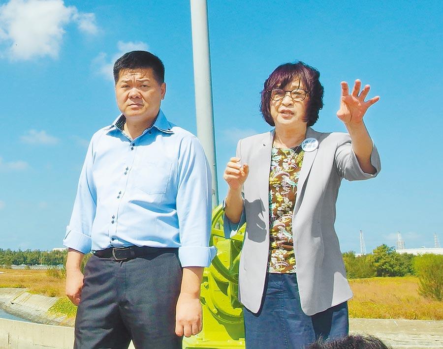 蘇治芬(右)去年宣布不再參選立委,交棒給許忠富(左)。(本報資料照片)