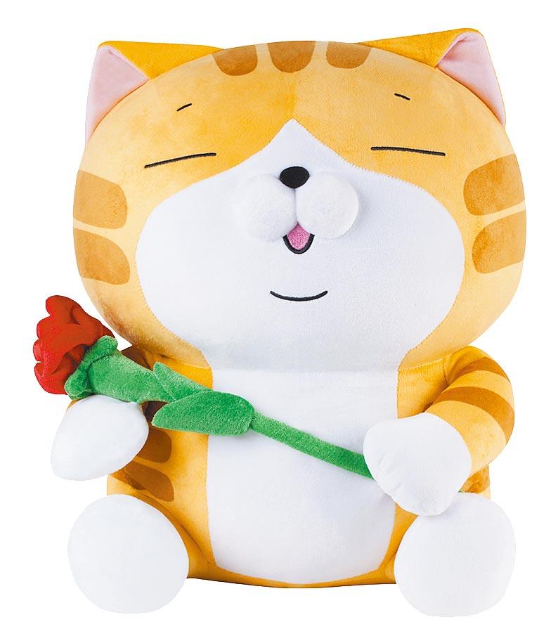 全家獨家白爛貓45cm情人節特別款,加購999元可入手。(全家提供)