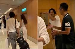 林志玲露纖腰合體尪 AKIRA驚拄拐杖受傷了!