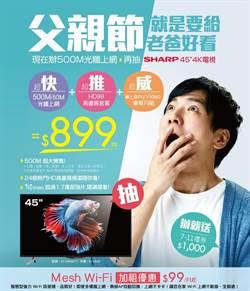 凱擘大寬頻父親節推500M光纖上網+看電視,月付899元