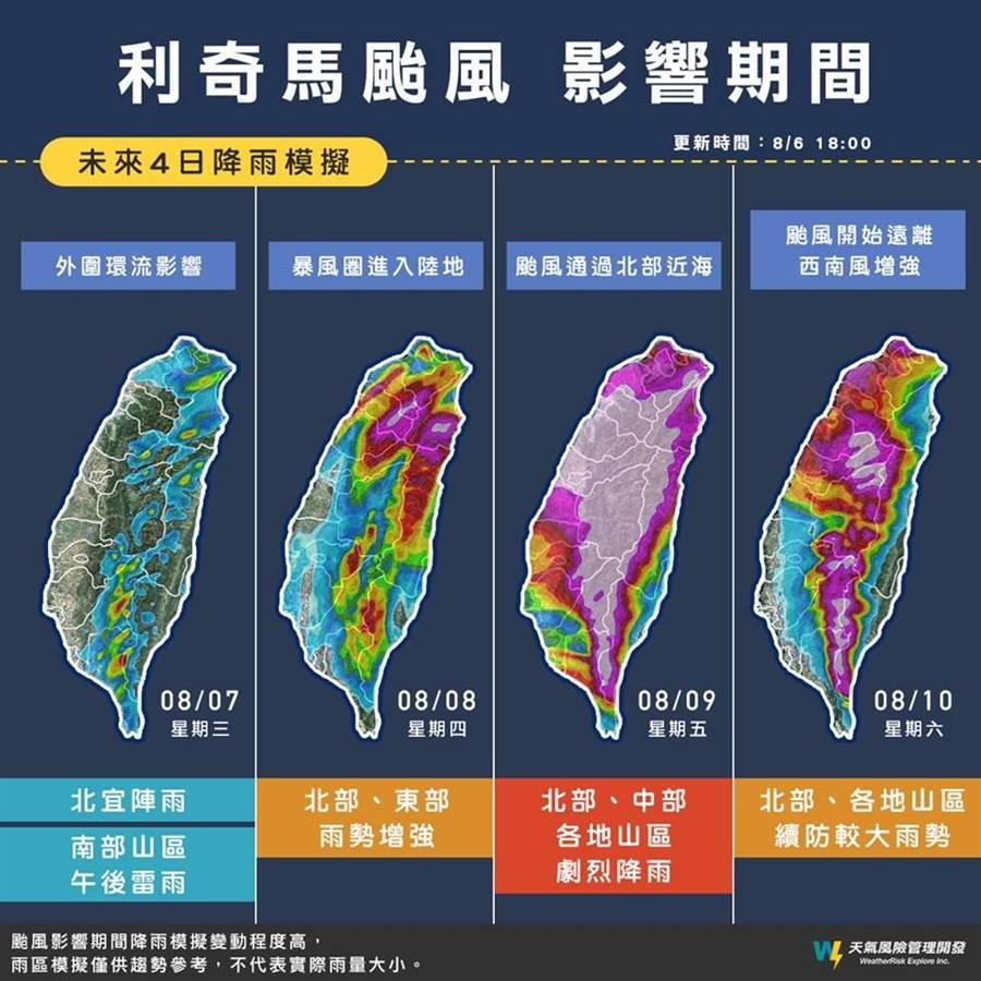 從預測圖中可以看到9日全台幾乎呈現紫色,顯示雨量驚人。(圖取自臉書《天氣風險 WeatherRisk》)