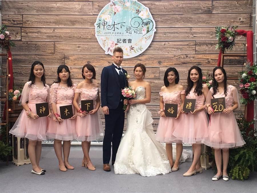 今年的阿里山婚禮將於10月19、20日在阿里山香林神木平台盛大舉行。(觀光局提供)