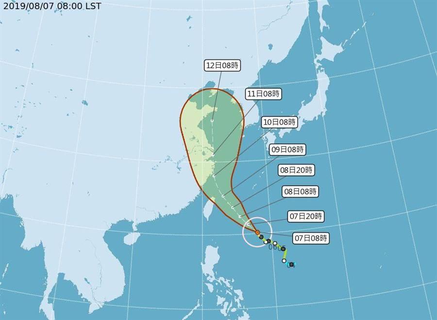 中颱利其馬的路徑略向東偏,仍須防強陣風和豪雨。(圖/取自氣象局網頁)