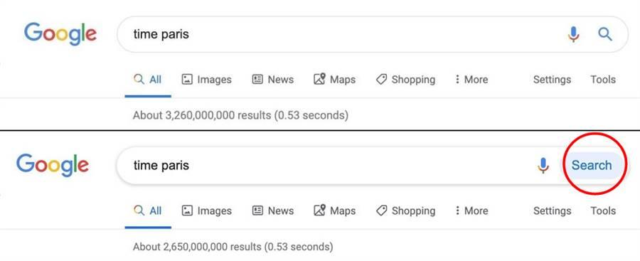 Google 搜尋的介面有些微改變(新版本在下方),在不同的網頁位置,有不同的修改之處。(圖/翻攝9to5google)